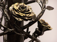 Rose detail on lamp base by Tim Carr